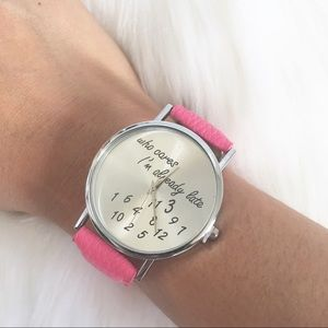 who cares im already late pink watch